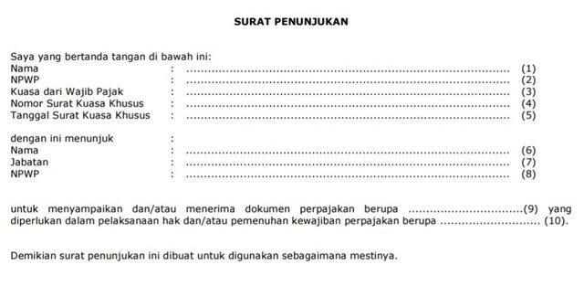 Contoh Surat Penunjukan Pelaporan Pajak