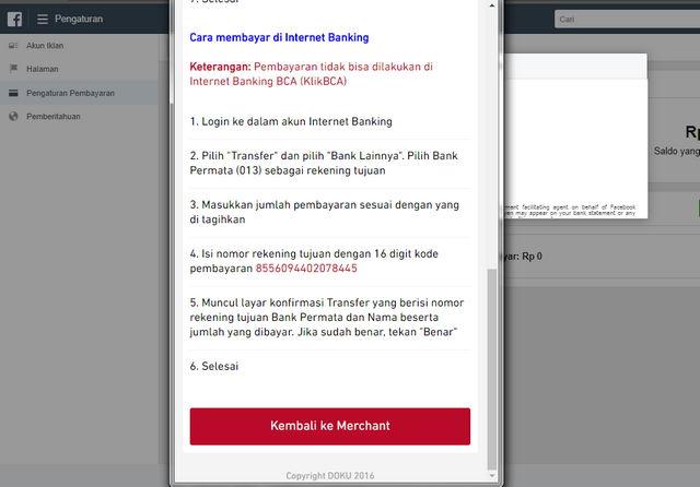 Petunjuk cara membayar di Internet Banking