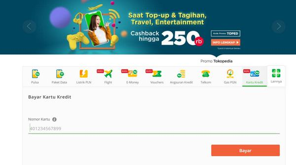 Cara Bayar Kartu Kredit BNI Dapat Cashback di Tokopedia