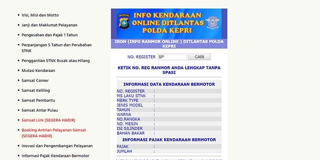 Cek Pajak Kendaraan Kepulauan Riau Lewat Website