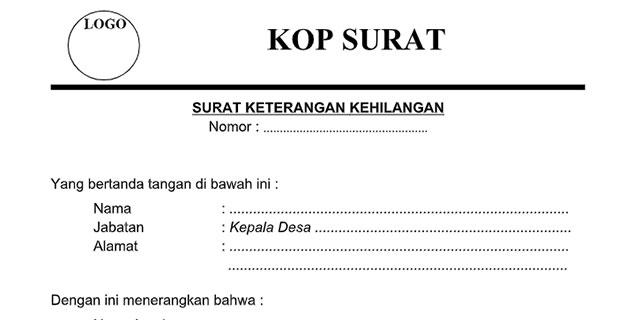 Contoh Surat Pernyataan Kehilangan Dokumen