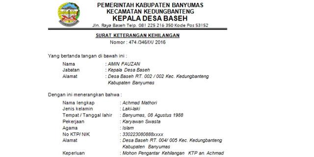 Kumpulan Contoh Surat Pernyataan Kehilangan Dokumen