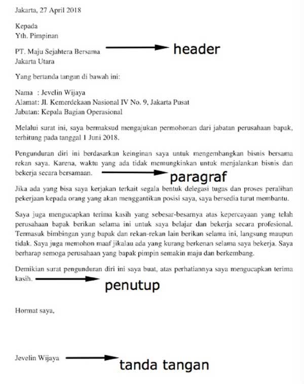 Contoh Surat Pengunduran Diri Karyawan Kontrak