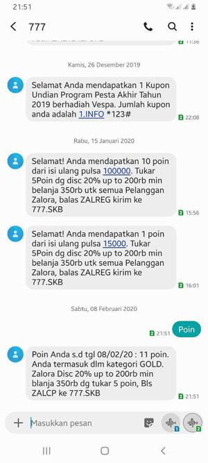 Cek Poin Lewat SMS