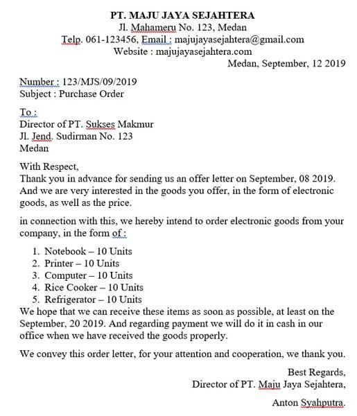 23 Contoh Surat Pesanan Dalam Bahasa Inggris Terbaru 2021 Myjourney