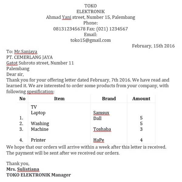Surat Pesanan Elektronik Dalam Bahasa Inggris