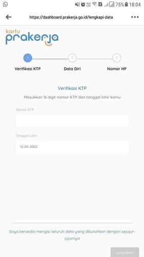 4. Nantinya kamu akan diarahkan ke halaman verifikasi KTP disini kamu masukkan nomor KTP dan data kelahiran kamu yang sesuai dengan KTP Asli