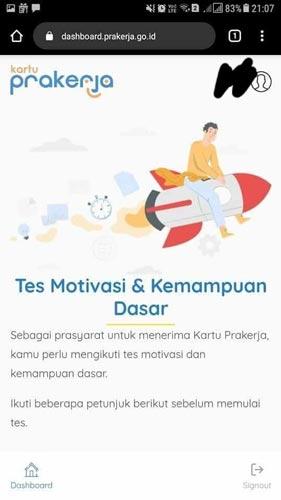 9. Setelah menjawab pertanyaan maka kamu akan dialihkan ke website TES Motivasi dan Kemampuan Dasar