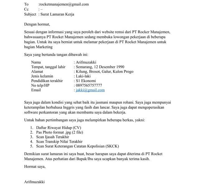 Contoh Surat Lamaran Pekerjaan via Email 1