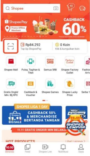 2. Kemudian klik ikon Scan yang terletak dibagian sebelah tombol Shopeepay