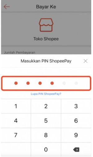6. Masukkan PIN Shopeepay kamu