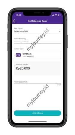 Masukkan Bank Tujuan Nomor Rekening dan Nominal Transfer