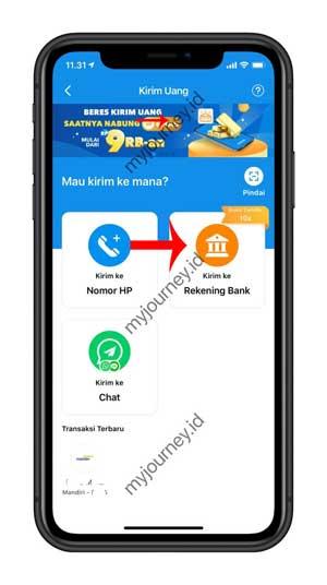 Pilih ke Rekening Bank 2
