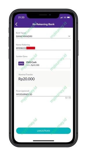 Masukkan Informasi Bank Nomor Rekening dan Nominal