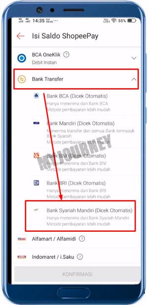 Bank Transfer dan pilih Bank Syariah Mandiri
