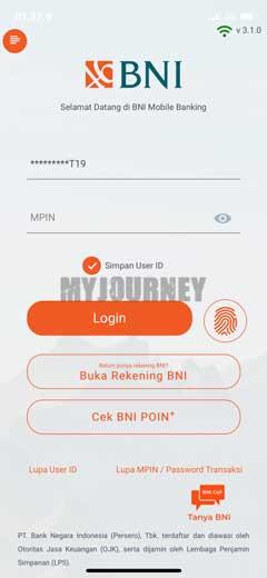 Masuk Aplikasi BNI Mobile