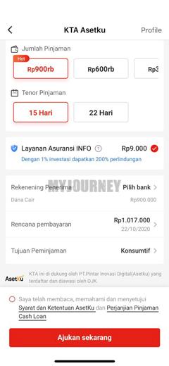 Pilih Nominal Tenor Pinjaman