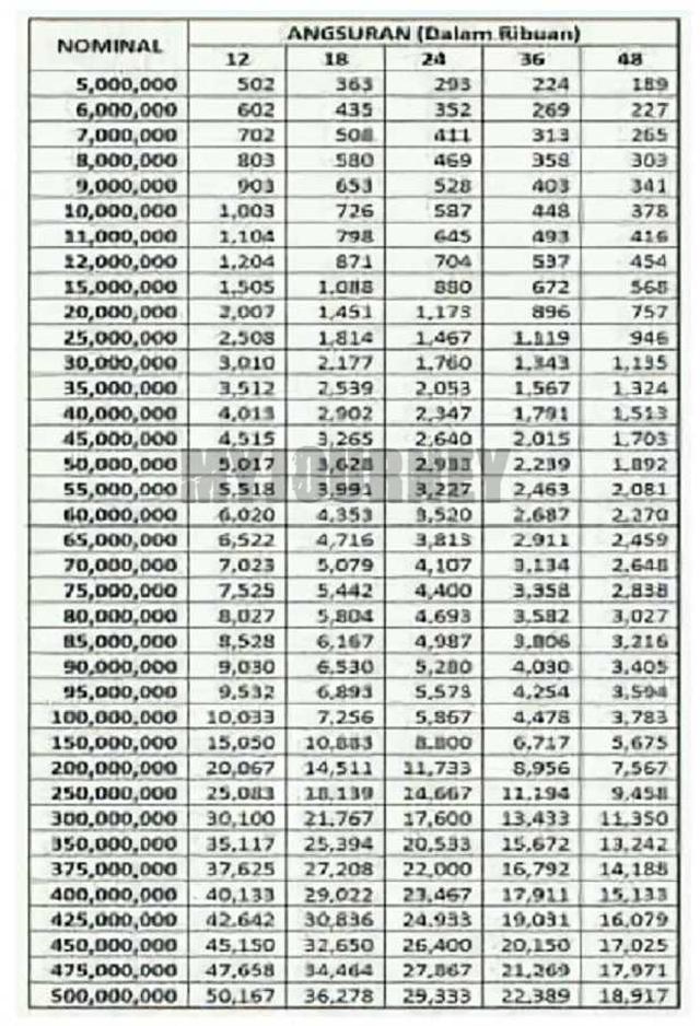 Tabel Angsuran Pinjaman BPR 2021 Tenor 48 Bulan