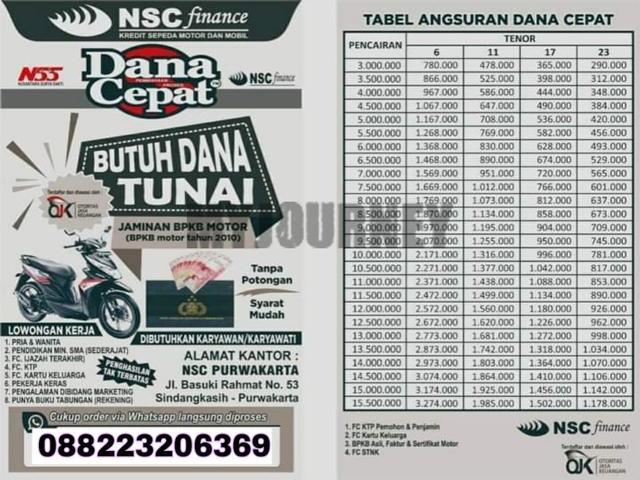 Tabel Angsuran Pinjaman NSC Finance Dana Cepat