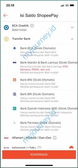 Pilih Transfer Bank 2