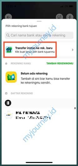 Pilih Transfer Instan ke Rekening Baru