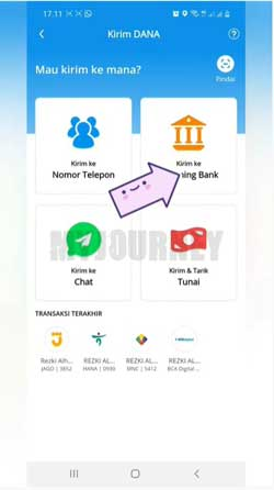 Pilih Kirim ke Rekening Bank