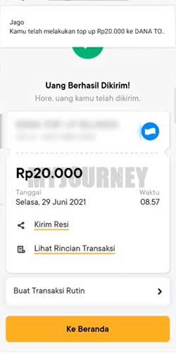 Top Up DANA Lewat Bank Jago Berhasi