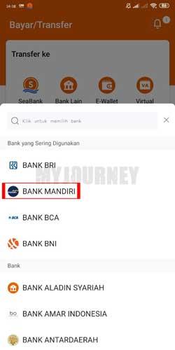 Masukkan Bank Tujuan