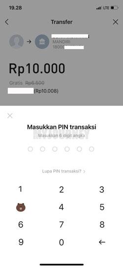 Masukkan PIN Line Bank 1