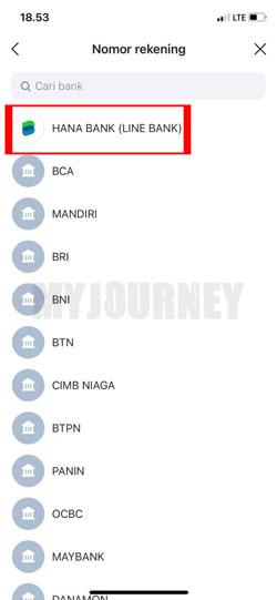 Pilih Hana Bank Line Bank