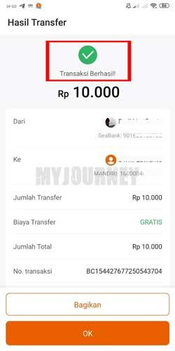 Transfer Uang ke Bank Lain Lewat SeaBank Berhasil
