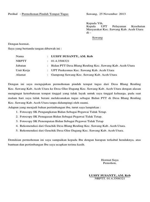 Contoh Surat Mutasi Antar Kabupaten
