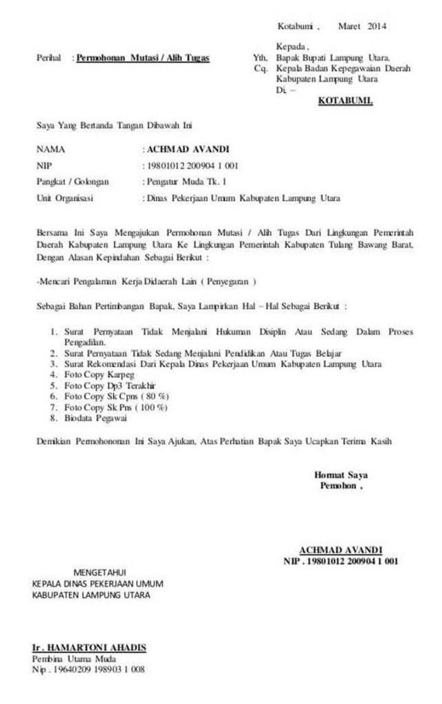 Contoh Surat Mutasi PNS Kabupaten ke Provinsi