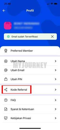 Pilih Kode Referral